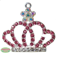 Pink Rhinestone Royal Crown Pendant