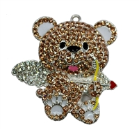 45mm Cupid Teddy Bear Rhinestone Pendant