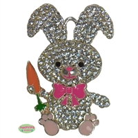 Easter Bunny with Carrot Rhinestone Pendant 50mm x 28mm