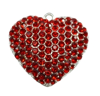 Puffy Red Rhinestone Heart Pendant