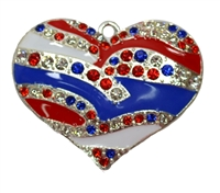 Red White and Blue Rhinestone Heart Pendant