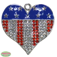 Rhinestone Heart shaped Red White and Blue Pendant 40mm x 35mm