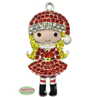 Rhinestone Little Miss Claus Pendant