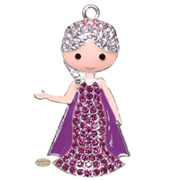 Purple Frozen Ice Queen Rhinestone Pendant