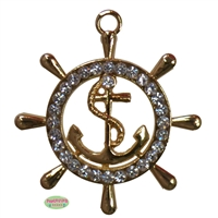 Ship's Wheel Rhinestone Pendant