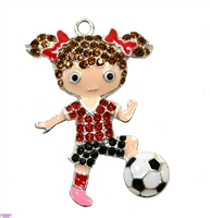 Rhinestone Soccer Player Pendant 44mm