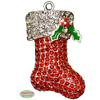Christmas Stocking Rhinestone Pendant
