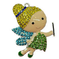 Rhinestone Flying Fairy Pendant