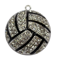 Rhinestone Volleyball Pendant 45mm x 45mm