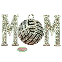 Volleyball Mom Rhinestone and Enamel Pendant 49mm x 26mm
