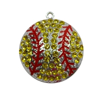 Rhinestone Yellow Softball Pendant 45mm x 45mm