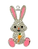 50mm x 28mm Easter Bunny with Carrot Rhinestone Pendant