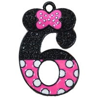 "Hot Pink Minnie Style ""6"" Rhinestone and Enamel Pendant 35 x 25 mm"