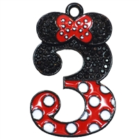 "Hot Pink Minnie Style ""3"" Rhinestone and Enamel Pendant 35 x 23 mm"