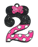 "Hot Pink Minnie Style ""2"" Rhinestone and Enamel Pendant 35 x 23 mm"