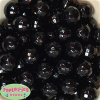 20mm Black Facet Acrylic Pearl Bubblegum Beads