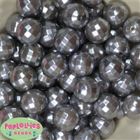 20mm Silver Facet Acrylic Pearl Bubblegum Beads