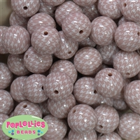 20mm Champagne Houndstooth Printed Faux Pearl Bubblegum Bead