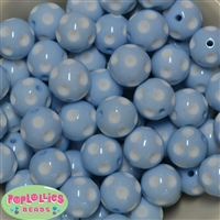 20mm Baby Blue Polka Dot  Beads
