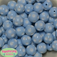 20mm Blue Polka Dot Bubblegum Beads Bulk