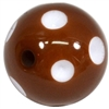 20mm Brown Polka Dot Bubblegum Beads