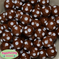 20mm Brown Polka Dot Bubblegum Beads Bulk
