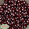 20mm Burgundy Red Polka Dot Bubblegum Beads