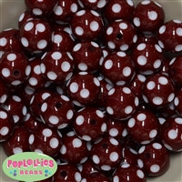20mm Burgundy Red Polka Dot Bubblegum Beads Bulk