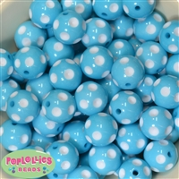 20mm Cyan Blue Polka Dot Bubblegum Beads Bulk