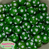 20mm Emerald Green Polka Dot Bubblegum Beads
