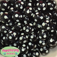 20mm Glow Black Polka Dot Bubblegum Beads