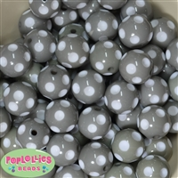Bulk 20mm Gray Polka Dot Beads