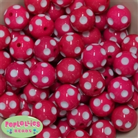 20mm Hot Pink Polka Dot Bubblegum Beads Bulk