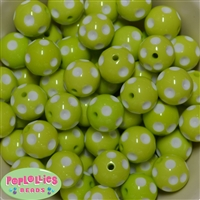 20mm Lime Green Polka Dot Bubblegum Beads