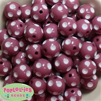 20mm Mauve Polka Dot Beads