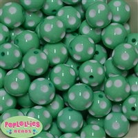20mm Mint Polka Dot Bubblegum Beads Bulk