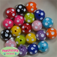 20mm Bubblegum Beads Mix Polka Dot