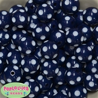 20mm Navy Blue Polka Dot Bubblegum Beads Bulk