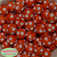 Bulk 20mm Orange Polka Dot Beads