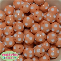 Bulk 20mm Peach Polka Dot Beads