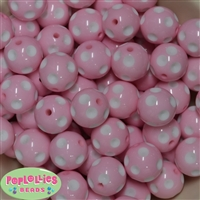 20mm Pink Polka Dot Bubblegum Beads Bulk