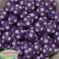 20mm Purple Polka Dot Beads