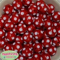 Bulk 20mm Red Polka Dot Beads