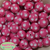 20mm Rose Polka Dot Bubblegum Beads Bulk