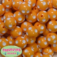 20mm Tangerine Polka Dot Beads