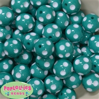 20mm Teal Green Polka Dot Bubblegum Beads Bulk