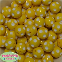 20mm Yellow Polka Dot Bubblegum Beads Bulk
