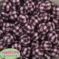 20mm Pink and Black Buffalo Plaid Print Beads