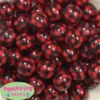 20mm Red and Black Buffalo Plaid Print Beads