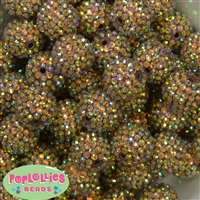20mm Fall Gold Metallic Rhinestone Bubblegum Beads